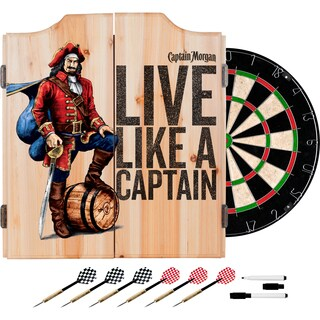 Captain Morgan Dart Cabinet Set with Darts and Board