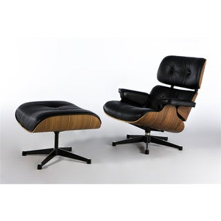 Eaze Black Faux Leather/ Wood Lounge Chair and Ottoman