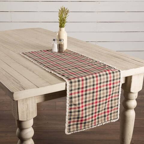 White Farmhouse Holiday Decor VHC Hollis Runner Cotton Plaid Flax