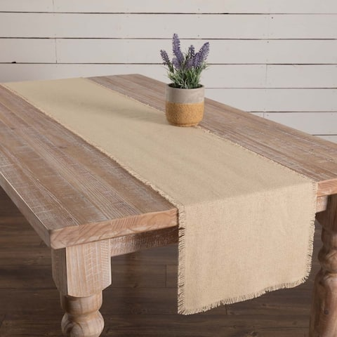 Farmhouse Tabletop Kitchen VHC Burlap Natural Runner Cotton Solid Color Distressed Appearance Cotton Burlap