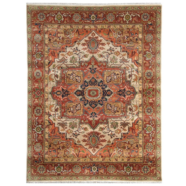 Handmade Herat Oriental Indo Hand-Knotted Serapi Wool Rug - 9' x 11'9