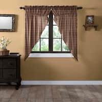 Tan Primitive Curtains VHC Crosswoods Prairie Panel Pair Rod Pocket Cotton Plaid - 63x36