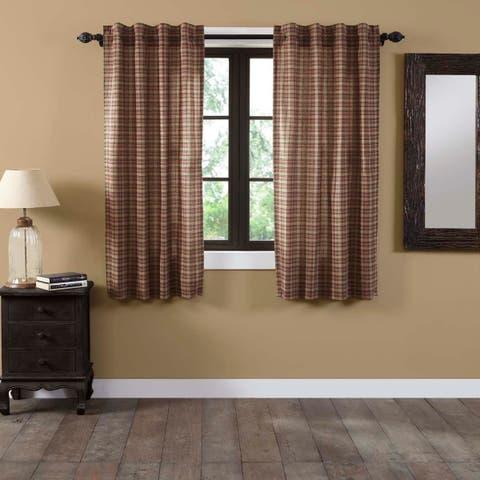 Tan Primitive Curtains VHC Crosswoods Panel Pair Rod Pocket Cotton Plaid - 63x36