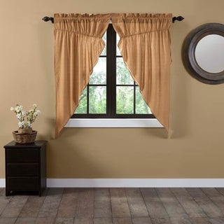 Tan Primitive Curtains VHC Kindred Star Prairie Panel Pair Rod Pocket Cotton Plaid - Prairie Panel 63x36