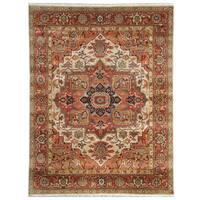 Handmade Herat Oriental Indo Hand-Knotted Serapi Wool Rug - 8'11 x 11'11