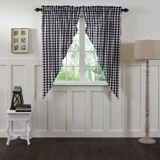 "Annie Buffalo Check Lined Prairie Curtain Set of 2 - 63"" x 36"""