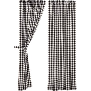 """Annie Buffalo Check Lined Curtain Panel Set of 2 - 84"""" x 40"""""""