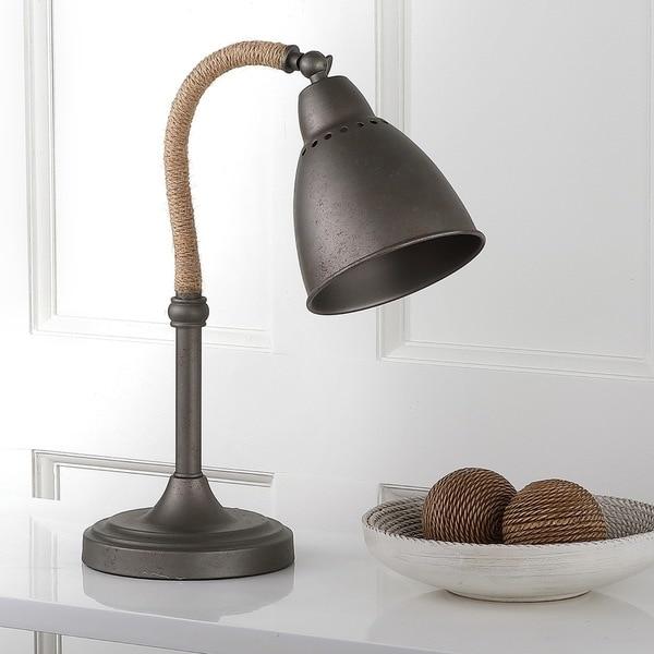"""Safavieh Lighting 19.5-inch Nari Dark Grey Task Table Lamp - 16"""" x 7"""" x 19.5"""""""