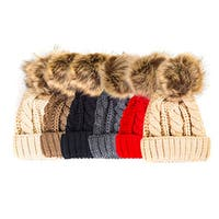 Pop Fashionwear Chunky Knit Beanie with Faux Fur Pom Pom