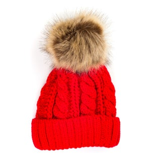 Pop Fashionwear Chunky Knit Beanie with Faux Pom Pom 909HB