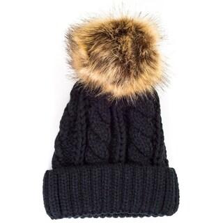 Pop Fashionwear Chunky Knit Beanie with Faux Pom Pom 909HB