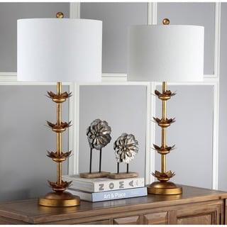 "Safavieh Lighting 32-inch Lani Antique Gold Leaf Table Lamp (Set of 2) - 14""x14""x32"""