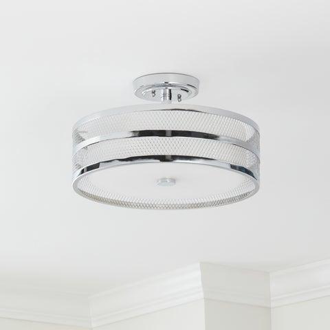 Safavieh Lighting 15.75-inch Diameter Greta 3-light Chrome Veil Semi Flush
