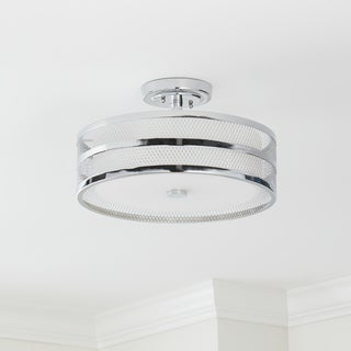 Safavieh Lighting  Greta 3 Light Chrome 15.75-Inch Dia Veil Semi Flush