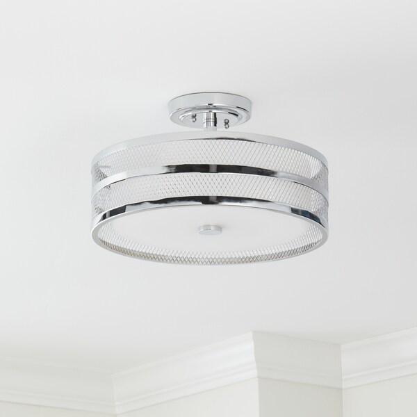 Shop Safavieh Lighting Orb Drum 3 Light Chrome Ceiling