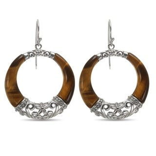 Pangea Mines Tiger Eye Dangle Circle Earrings