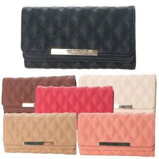 Faddism Quilted Minimalist Fashion Long Flap Wallet