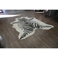 Hair-on Cowhide Real Leather Zebra Print In Black and White - 5' x 7'