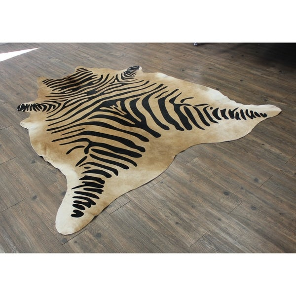 Hair-on Cowhide Real Leather Zebra Print In Camel and Black - 5' x 7'