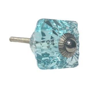 Square Aqua Blue Glass Knobs - Pack of 6