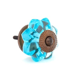 Turquoise Melon Shaped Glass Knobs - Pack of 6