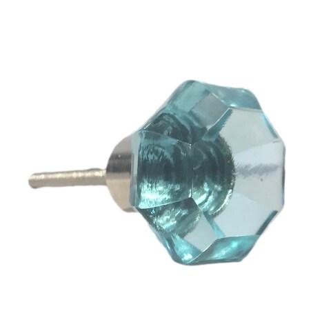 Octagon Aqua Blue Glass Knobs - Pack of 6