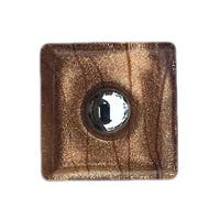 Copper, Sparkly with Lines Square Glass Knobs, Chrome Hardware - Pack of 6