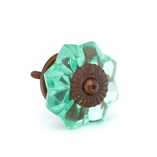 Mint Green Melon Shaped Glass Knobs - Pack of 6