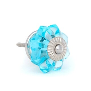 Turquoise Melon Shaped Glass Knobs, Chrome Hardware - Pack of 6