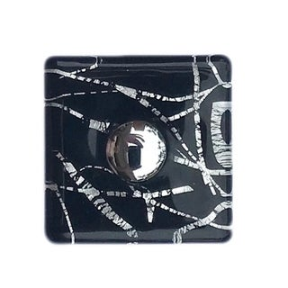 Black Square with Silver Streaks Glass Knobs, Chrome Base - Pack of 6