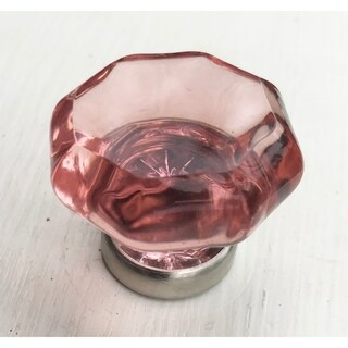 Pink Octagon Glass Knobs, Brushed Nickel Base - Pack of 6