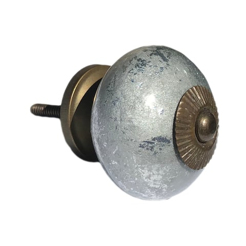 Silver Sparkly Ceramic Knobs, Drawer Pulls - Pack of 6