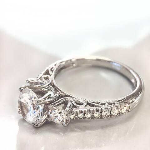 Lihara and Co. 18k White Gold 1/2ct TDW White Diamond Semi-Mount Engagement Ring (G-H, VS1-VS2) - White G-H