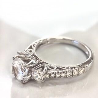 Lihara and Co. 18k White Gold 1/2ct TDW White Diamond Semi-Mount Engagement Ring (G-H, VS1-VS2)