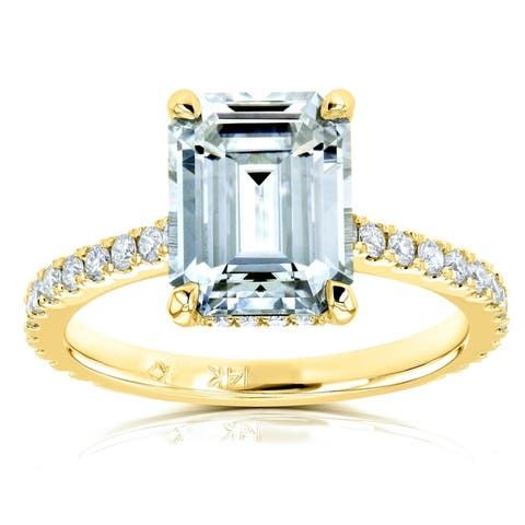 Annello by Kobelli 14k Gold 2 7/8ct TGW Emerald-cut Moissanite and Diamond Engagement Ring