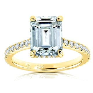 Annello By Kobelli 14k Gold 2 7 8ct TGW Emerald Cut Moissanite And Diamond Engagement Ring