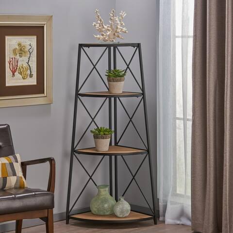 Nesha Industrial 3 Shelf Firwood Corner Bookcase by Christopher Knight Home - 26.75 W x 18.50 D x 52.50 H