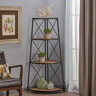 "Nesha Industrial 3 Shelf Firwood Corner Bookcase by Christopher Knight Home - 26.75"" W x 18.50"" D x 52.50"" H"