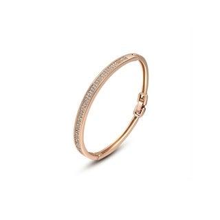 Rose Gold High-End Sparkling Gemstone Bangle Bracelet by Kauri Design