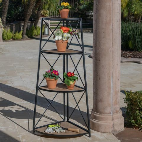 """Lucca Outdoor Industrial 3 Shelf Firwood Corner Bookcase by Christopher Knight Home - 26.75"""" W x 18.50"""" D x 52.50"""" H"""