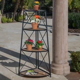 Lucca Outdoor Industrial 3-tier Corner Shelf by Christopher Knight Home