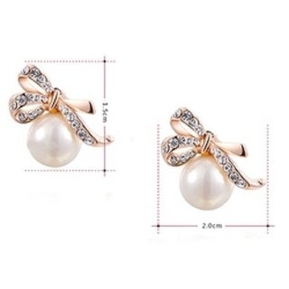 Cubic Zirconia Rose Gold Bow Knot and Tie Pearl Earrings by Kauri Design