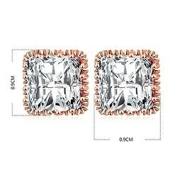 ff9c8f2ec Shop Square Cubic Zirconia Stud Earrings Rose Gold Vermeil by Kauri ...