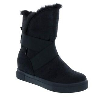 VIA PINKY EL76 Women's Plain Uppper Elastic Strap Mid Calf Snow Boots