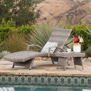 Crete Outdoor 2-piece Armed Aluminum Wicker Chaise Lounge Set by Christopher Knight Home