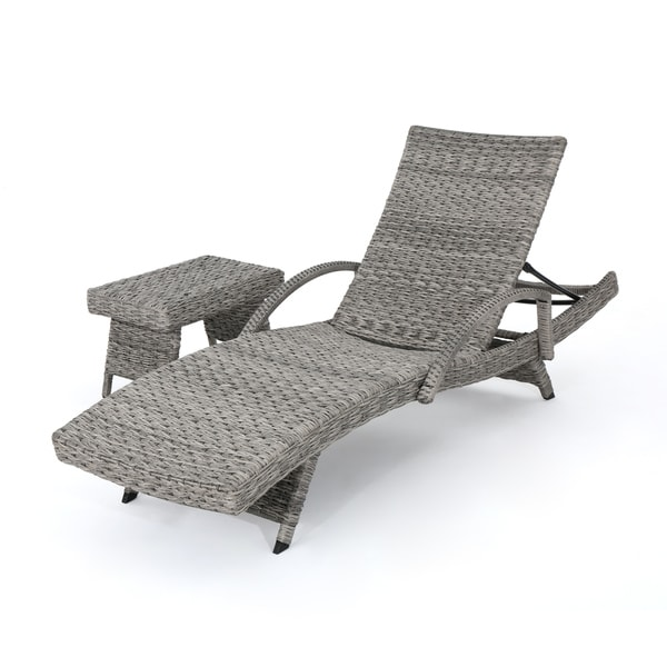 Crete Outdoor 2-piece Armed Aluminum Wicker Chaise Lounge Set by ...