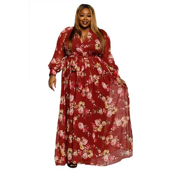 Shop Xehar Womens Plus Size Casual V Neck Long Floral Maxi Dress