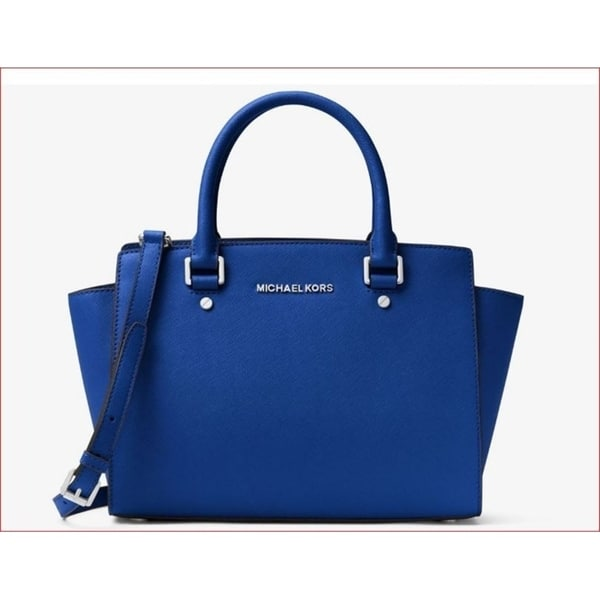 Michael Kors Selma Medium Saffiano Electric Blue Leather Satchel