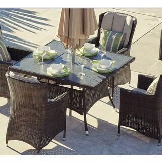 Puerta Garden 47-inch Brown Wicker Square 4-Seat Fire Pit Table by Direct Wicker