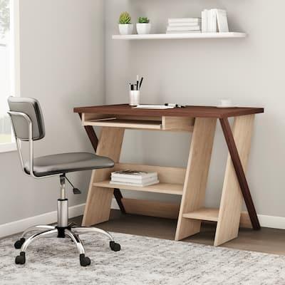 Carson Carrington Tornea Oak and Natural Finished Modern Writing Desk
